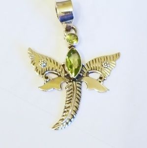 Sterling Silver Dragonfly Pendant with Peridot